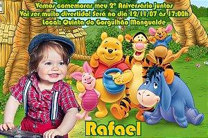 Convite digital personalizado Ursinho Pooh com foto 007