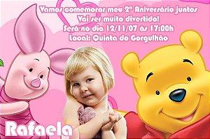 Convite digital personalizado Ursinho Pooh com foto 010