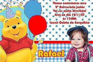 Convite digital personalizado Ursinho Pooh com foto 011