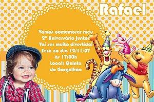 Convite digital personalizado Ursinho Pooh com foto 012