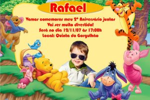Convite digital personalizado Ursinho Pooh com foto 013