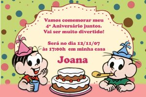 Convite digital personalizado Turma da Mônica 017