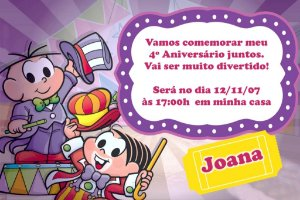 Convite digital personalizado Turma da Mônica 033