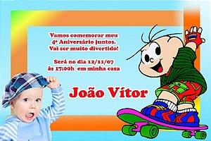 Convite digital personalizado Turma da Mônica com foto 010