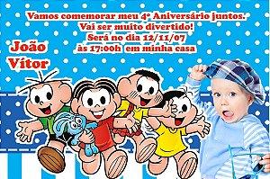Convite digital personalizado Turma da Mônica com foto 015
