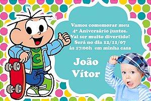 Convite digital personalizado Turma da Mônica com foto 023