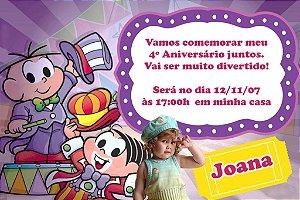 Convite digital personalizado Turma da Mônica com foto 033