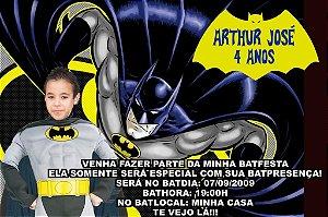Convite digital personalizado Batman com foto 002
