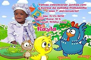 Convite digital personalizado da Galinha Pintadinha com foto 001