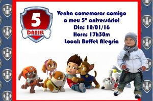 Convite digital personalizado Patrulha Canina com foto 002