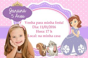 Convite digital personalizado Princesa Sofia com foto 002
