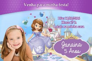 Convite digital personalizado Princesa Sofia com foto 006