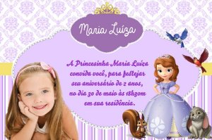Convite digital personalizado Princesa Sofia com foto 007