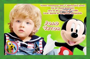 Convite digital personalizado da Casa do Mickey Mouse com foto 001