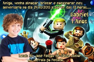 Convite digital personalizado Lego Star Wars com foto 001