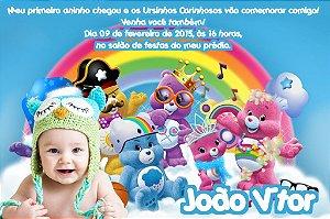Convite digital personalizado Ursinhos Carinhosos com foto 002