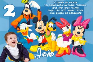 Convite digital personalizado Turma do Mickey com foto 002