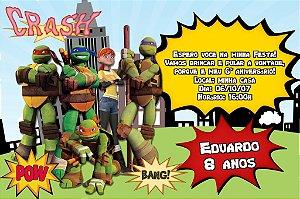 Convite digital personalizado Tartarugas Ninja 005