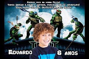 Convite digital personalizado Tartarugas Ninja com foto 01