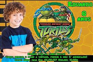 Convite digital personalizado Tartarugas Ninja com foto 002