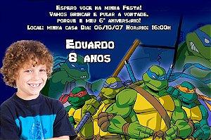 Convite digital personalizado Tartarugas Ninja com foto 003