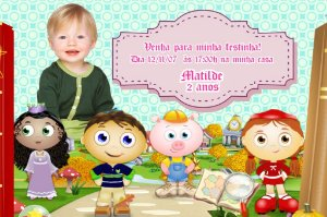 Convite digital personalizado Super Why com foto 001