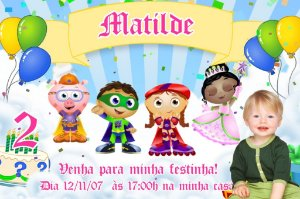 Convite digital personalizado Super Why com foto 002