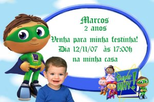Convite digital personalizado Super Why com foto 004