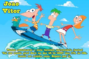 Convite digital personalizado Phineas and Ferb 001