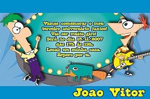 Convite digital personalizado Phineas and Ferb 005