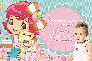 Convite digital personalizado Baby Moranguinho com foto 001