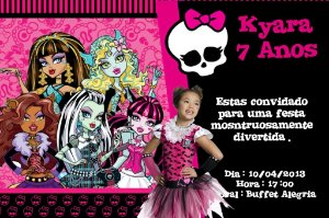 Convite digital personalizado Monster High com foto 001