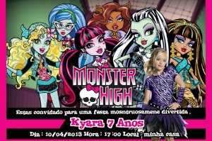 Convite digital personalizado Monster High com foto 003