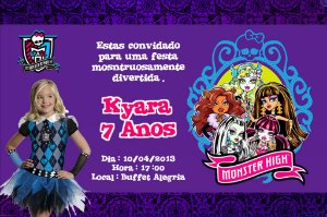 Convite digital personalizado Monster High com foto 005