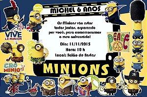 Convite digital personalizado Minions 001