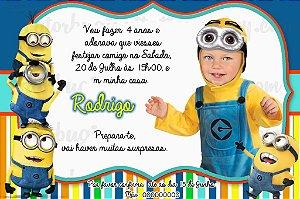 Convite digital personalizado Minions com foto 004
