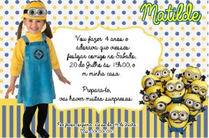 Convite digital personalizado Minions com foto 006