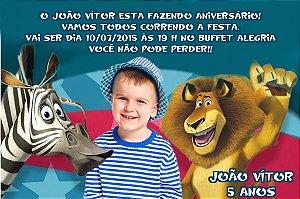 Convite digital personalizado Madagáscar com foto 014