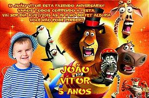 Convite digital personalizado Madagáscar com foto 017