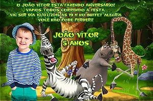Convite digital personalizado Madagáscar com foto 018