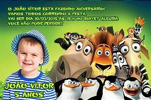 Convite digital personalizado Madagáscar com foto 020