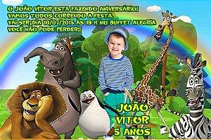Convite digital personalizado Madagáscar com foto 021
