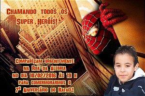Convite digital personalizado Homem Aranha com foto 001