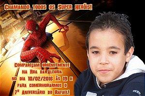 Convite digital personalizado Homem Aranha com foto 002