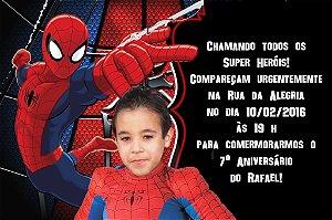 Convite digital personalizado Homem Aranha com foto 003