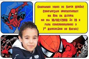Convite digital personalizado Homem Aranha com foto 005