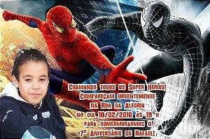 Convite digital personalizado Homem Aranha com foto 006