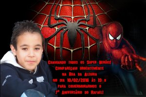 Convite digital personalizado Homem Aranha com foto 007