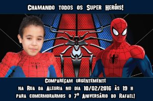 Convite digital personalizado Homem Aranha com foto 009