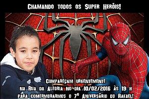 Convite digital personalizado Homem Aranha com foto 010
